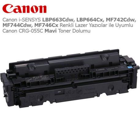 Canon CRG-055C Mavi Toner Dolumu