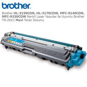 Brother TN-261C Mavi Toner Dolumu