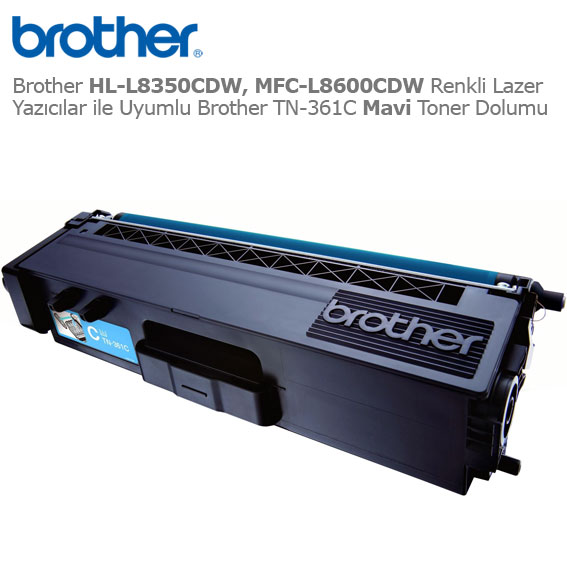Brother TN-361C Mavi Toner Dolumu