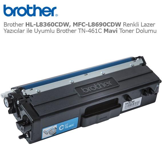 Brother TN-461C Mavi Toner Dolumu