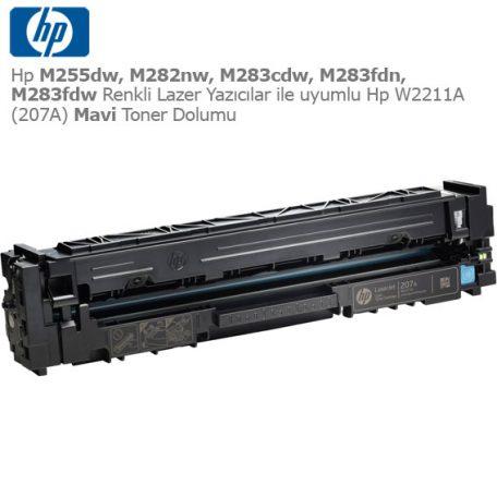 Hp W2211A (207A) Mavi Toner Dolumu