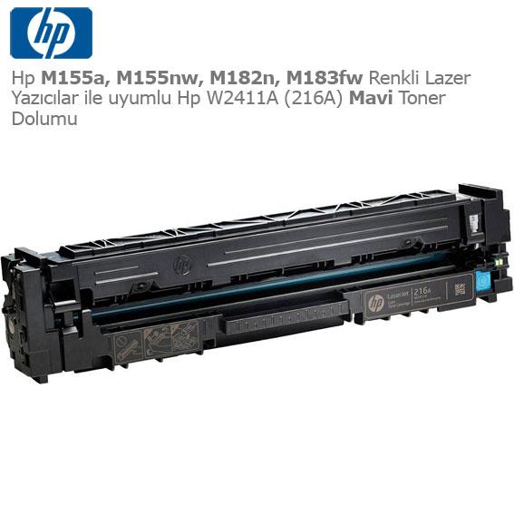 Hp W2411A (216A) Mavi Toner Dolumu